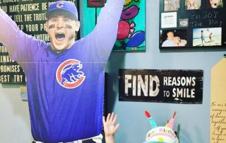 Anthony Rizzo life-size cardboard cutout celebrating the Chicago Cubs World Series win.
