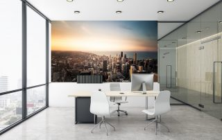 Beautiful city scape office wall mural.