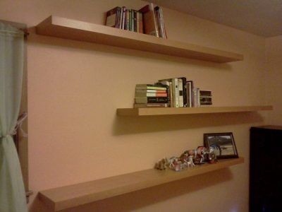 Floating shelves hanging on a wall.