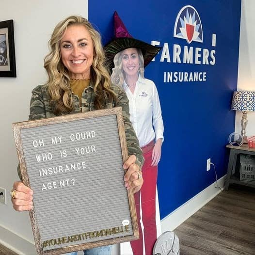 Danielle Stack with life size cardboard cutout & sign.