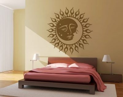 Wall decal applied on bedroom wall.