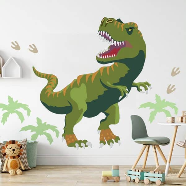 Kids room with t-rex dinosaur wall decal.