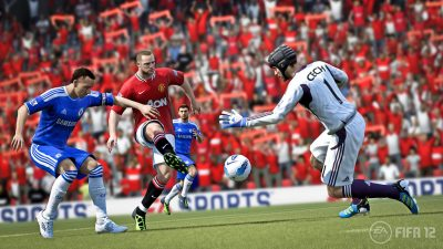 Wayne Rooney playing for Manchester United against Chelsea in EA Sports FIFA 12.