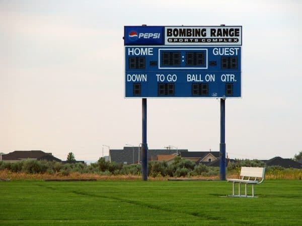 A football scoreboard makes a great interactive display for a football party.