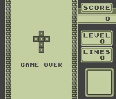 Game over screen on classic video game screen.