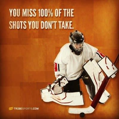 Motivational Wayne Gretzky quote with a hockey goalie.