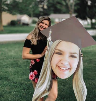 Bighead with graduation cap.