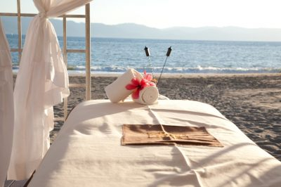 Spa set-up on relaxing beach.