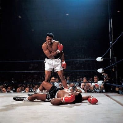 Iconic photo of Muhammad Ali standing over Sonny Liston.