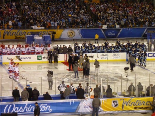 Players are introduced at NHL Winter Classic.
