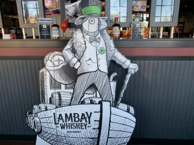 Lambay Whiskey penguin cutout.