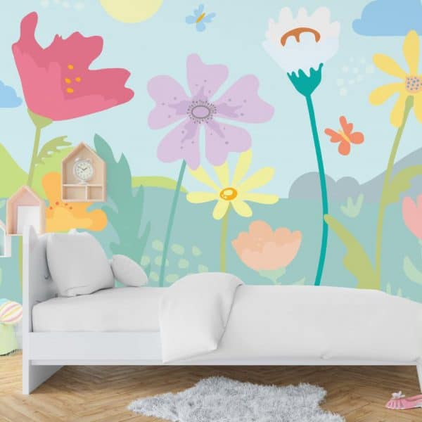 Kids room with magical garden wall mural.