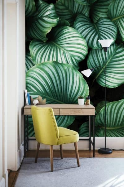Wall decal with image of large plants.