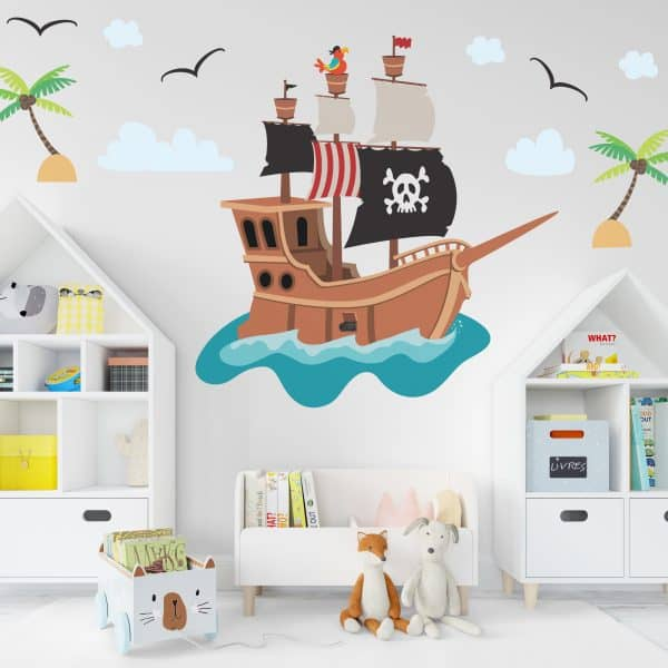 Kids room with pirate ship wall decal.