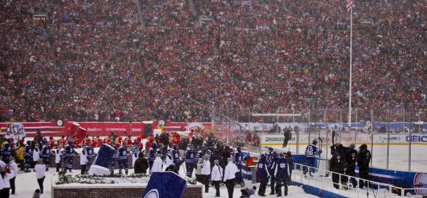 Players enter the ice for the NHL Winter Classic.