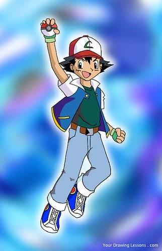 Ash Ketchum with a Pokeball.