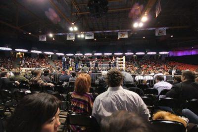 Ringside shot at big boxing match.