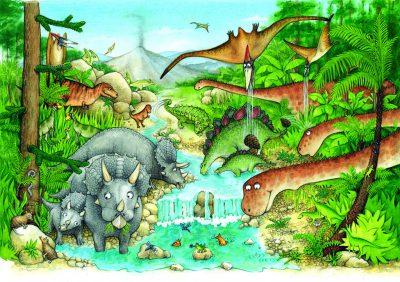 Cartoon dinosaur landscape.