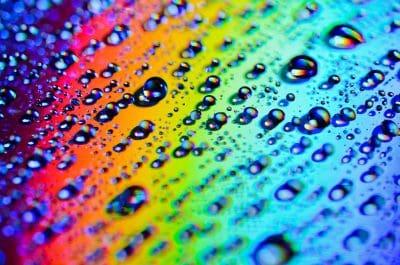 Serene colorful rainbow lens bubbles close-up.