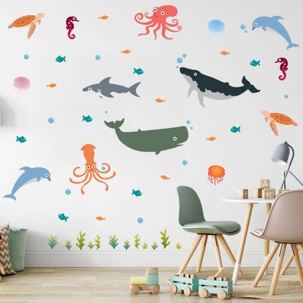 Kids room with sea creature wall decal.