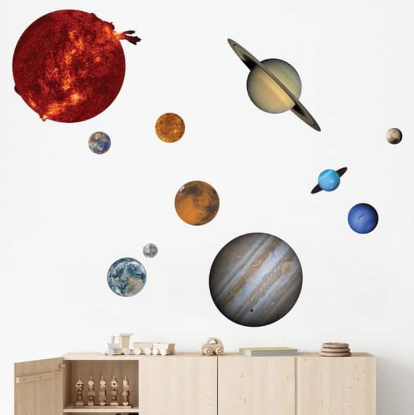 Kids room with solar system wall decal.