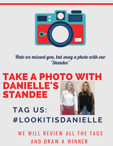 Take a photo with Danielle's life size cardboard standee.