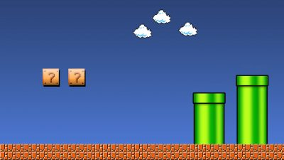 Super Mario level with mystery boxes, clouds, and tunnels.