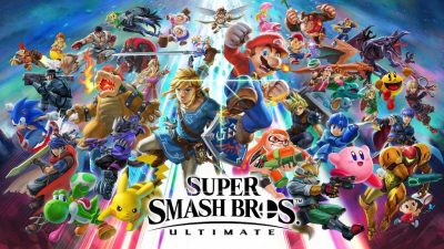 Super Smash Bros Ultimate screenshot featuring all of the characters.