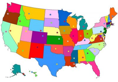 Colorful map of the United States with state capitals marked.