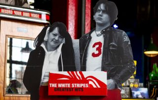 Point of purchase display of Jack & Meg of The White Stripes.