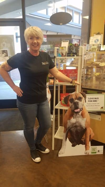 Woman with cardboard cutout of brown boxer at Pets To Go store lobby.