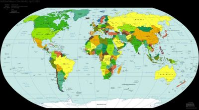 Entire world map with country names