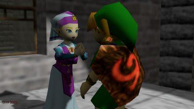 Zelda and the princess in the Zelda Hyrule Castle.